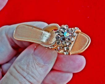 "Vintage  1.75"" orange enameled high heeled slipper brooch with rhinestone accents in great condition, appears unworn"