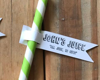 John's Juice Straws with Flags