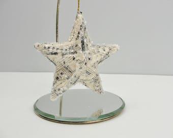Vintage sheet music star ornament