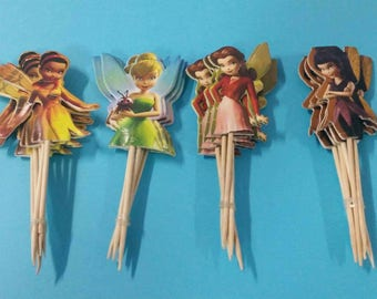 45 piece Tinkerbell fairies cupcake topper and wrapper. 2 inches round. Double sided