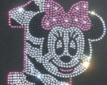 SALE Minnie Mouse 1st Birthday clear pink zebra iron on rhinestone transfer for shirt WHOLESALE available