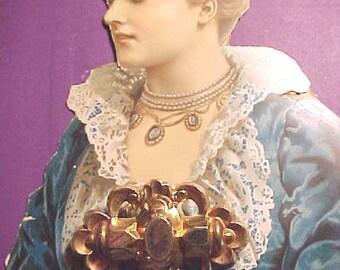 Vintage Victorian Civil War Holloware Pin Trombone Hinge Low Karat Gold Front LG A Beauty Real Antique