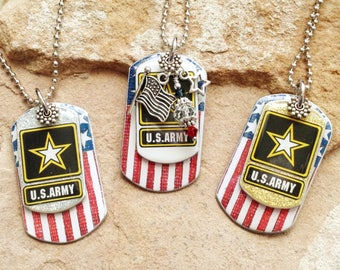 FOR BRENDA ONLY** Assorted Military Dog Tag Necklaces-Total of 96 all with charms
