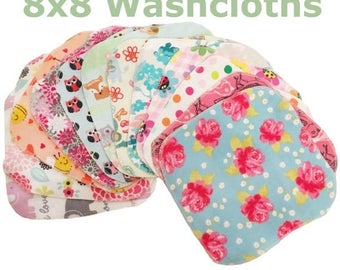 On Sale SALE - Mystery Set - 100 8x8 Sweet Bobbins Cloth Wipes Starter Set of 100 wipes -  Double Layer Flannel  - 8x8