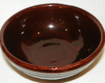 "Marcrest Daisy Dot 5 5/8"" Cereal/Fruit Bowl, Brown Embossed Pottery Bowl,"