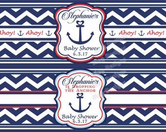 Chevron Nautical Water Bottle Labels Anchor Customizable Weatherproof Polyester Laser Printed
