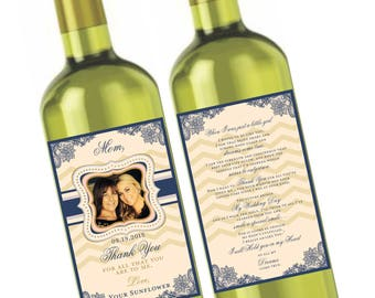 Private Listing for idoncarrado Mom Thank You Wine Label - Front and Back Label - Thank You Mom - Customizable