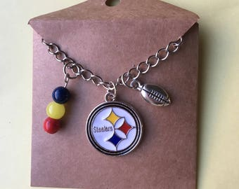 Pittsburgh Steelers 20 inch  3 charm football necklace, ladies sports jewelry, Valentine's Day,, Pittsburgh Steeler fans