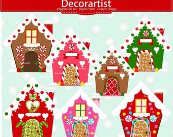 ON SALE Christmas Gingerbread House Clip Art, Gingerbread clip Art, Christmas House Clip Art, Christmas Clipart, Commercial use Clip Art