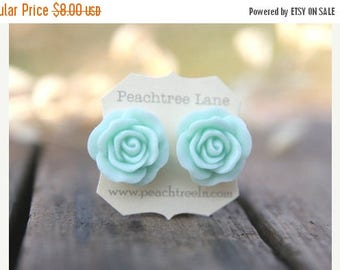 CHRISTMAS in JULY SALE Large Mint Seafoam Green Rose Flower Earrings // Bridesmaid Gifts // Outdoor Rustic Wedding // Bridal Shower Gifts
