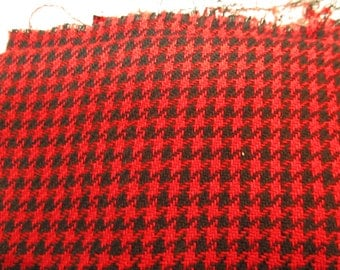 homespun woven red houndstooth check