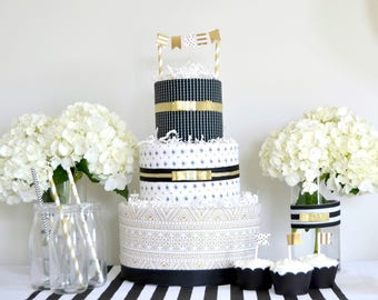 Gold Black Baby Shower Decor, Gold Black Cake, Diaper Cake, Gold Black Baby