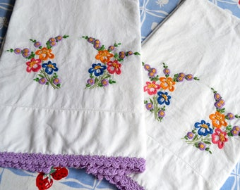 Vintage Pillowcases - Hand Embroidered Flowers Purple Crochet - Standard Size Pair
