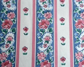 "Vintage Fabric - Pink and Blue Floral Tole Stripe Upholstery - Waverly Schumacher Floretta Al Fresco - 28"" x  49"""