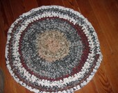 RAG RUG Crochet, Muted Colors, Made in USA, 21 In Dia, Prim, Primitive, Farm House, Country, Lodge, Ranch House, Cottage Decor, Hand Made