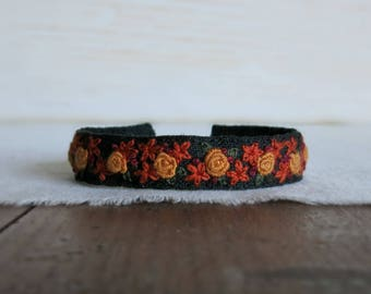 Embroidered Cuff Bracelet - Mustard Yellow and Rust Flowers on Black Linen Cuff Bracelet