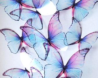 Frozen blue butterflies - 3D blue transparent butterfly - purple blue butterfly - blue wall art butterfly - 3D frozen butterfly wall decor