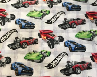 Vintage Hot Wheels fabric 1 yard cotton Mattel 2010 by David Textiles