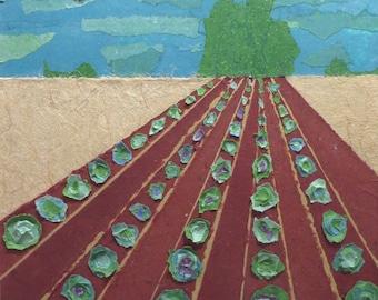 Farm land,farmland,collage,mixed media collage,hand made paper,handmade paper,fiber art,paper art,crop land,cropland,framed art,home decor