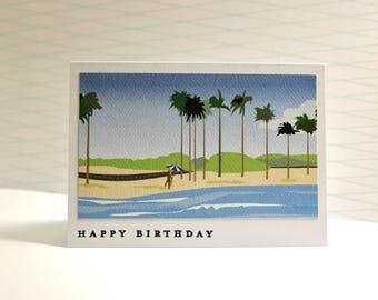 Birthday Card, Hawaiian Birthday Card, Vintage Travel Birthday Card, 1950's Inspired Birthday Card, Hawaii, Vintage Hawaiian Brithday Card