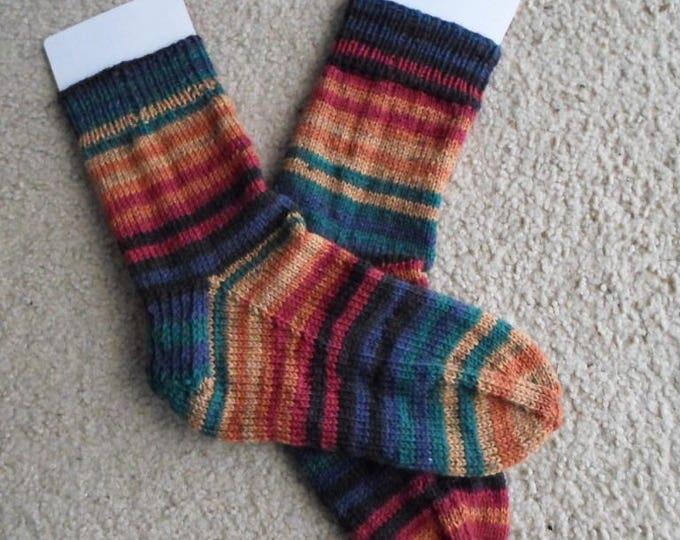 Socks - Handknitted Socks - Unisex - Size Large 9 US Women - 7.5 US Men / 40 EU - Self-Striping Colors