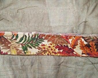 Vintage Ribbon. Vintage Wire Ribbon. Orange Red Brown Ribbon. 1970s Ribbon. Vintage Trim. Fall flower leaf pod. Vintage Supplies.