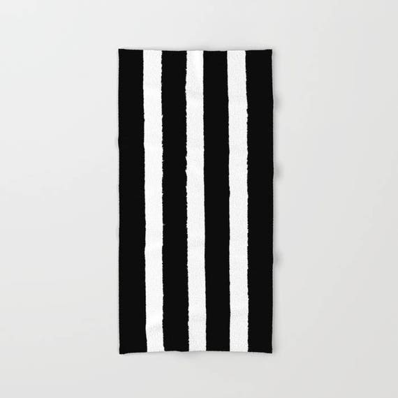 Black and White Stripe towel - striped hand towel - Black and White beach towel - hand towel - Stripe bath towel - beach towel - beach towel