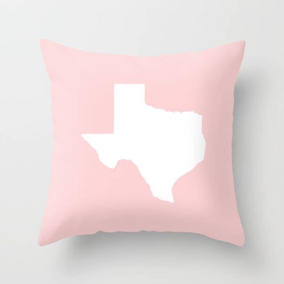 OUTDOOR Throw Pillow . Texas Outdoor Pillow . Blush Pink patio cushion . 16 18 20 inch . Texas State Outside Lumbar Pillow . Texan Pride