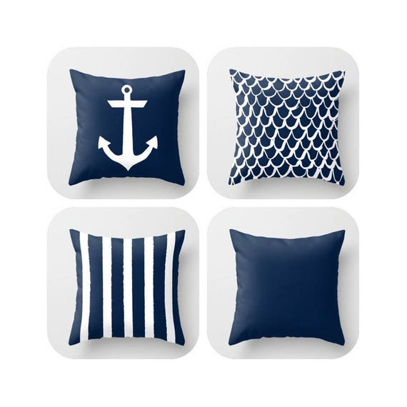 Navy Blue Throw Pillow . Mermaid Pillow . Anchor Pillow . Coastal Pillow . Striped Pillow . Navy cushion . Throw Pillow 14 16 18 20 inch