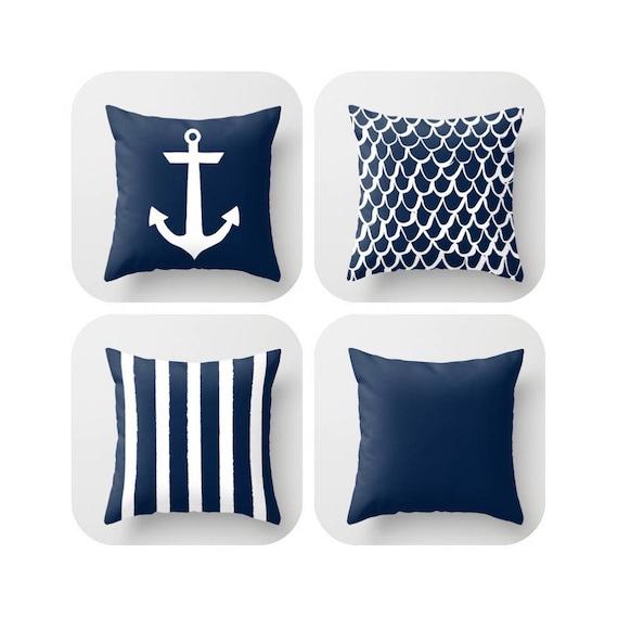Navy Blue Throw Pillow . Mermaid Pillow . Anchor Pillow . Coastal Pillow . Striped Pillow . Navy cushion . Throw Pillow 16 18 20 24 inch