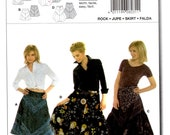 Skirt Pieced Front Stripes Knee or Floor Length Adult Woman Sizes 10 12 14 16 18 20 22 Uncut Craft Sewing Pattern Burda 8031