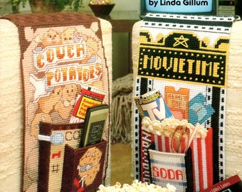 Plastic Canvas TV Caddies Couch Potato Movie Time Popcorn Cross Word Sports Nuts Soaps Needlepoint Embroidery Craft Pattern Leaflet 3076