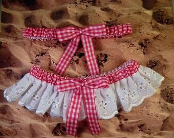 Hot Pink Fuchsia Gingham White Eyelet Lace Barn Country Outdoor Wedding Garter Toss Set