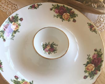 Royal Albert Old Country Roses Chip and Dip Bowl...Royal Albert  Burgundy and Yellow Cabbage Roses