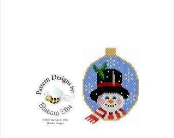 Beaded Ornament Pattern Christmas Snowman Peyote or Brick Stitch #394