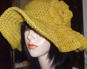 Hand Crochet Floppy Hat with Crochet Flower Pin - GOLDEN ROD or Choose your Color, Womens Hat, Womens Accessories Sun Hat