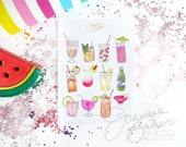 Summer Drinks Stickers  - Glossy, Permanent / Foodie Illustration, Summer Cocktail Happy Hour Stickers,  Planner Stickers, Summer Stickers