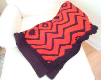 Crochet afghan, red and black throw, zig zag pattern throw, acrylic blanket, rec room or rustic cabin decor, big 54x76 inch fireside decor