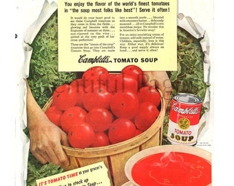 1949 Campbell's Tomato Soup Vintage Ad, Vintage Illustration, Advertising Art, Tomatos, 1940's Lunch, Bowl of Soup, Great for Framing.
