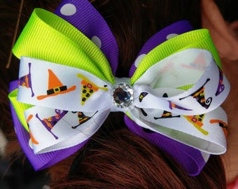 Hair Bow - Halloween Witch Hat Layered Bow