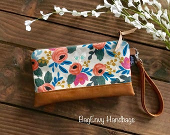 Coral Floral in Linen with Vegan Leather - Zippered Wristlet Clutch /  Bridesmaid Gift- Accessory Make Up Bag -