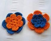4 crochet flowers 1.5 inch orange and blue