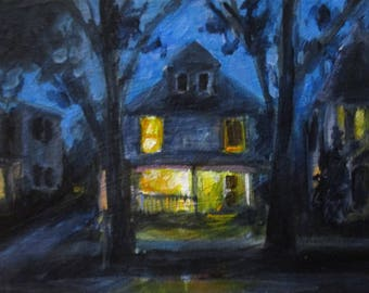 Porchlight - original daily painting by Kellie Marian Hill