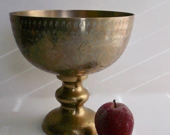 Brass Pedestal Bowl, Etched Bowl, Large Brass Bowl, Brass Etched Bowl