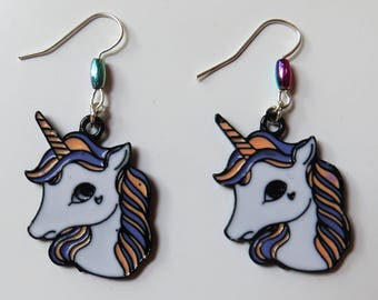 Unicorn head earrings with silver plated fishhook posts