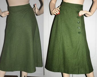 Vintage 70's David Mac G. Paris Designer Wool Blend Skirt with Button and Pocket Detail. Small.