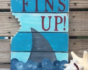 Shark Sign Fins Up Jimmy Buffet Beach and Nautical Nursery Decor