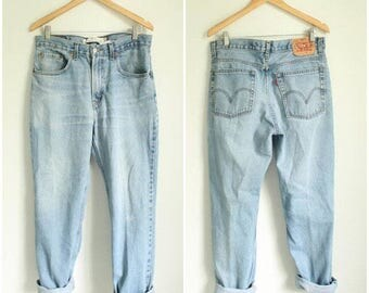 SPRING SALE 80s Levis 505 Red Tab Jeans, 34 x 30 High Waisted Light Wash Jeans, 90s Mom Jeans, High Rise Baggy Jeans, Tapered Baggy Jeans, W