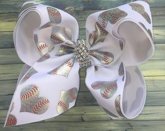 "Extra XXL Large Texas Sz Softball Hearts Foil Hologram Sequin Center Girls Hair Bow 3"" Ribbon ~ White Silver 6"" Layered BIG Bowz Custom Bow"