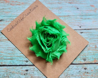 Shabby Kelly Green Flower Hair Clip